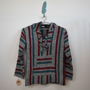 Mexican Hooded Poncho Sweater 🎄Christmas Colors!